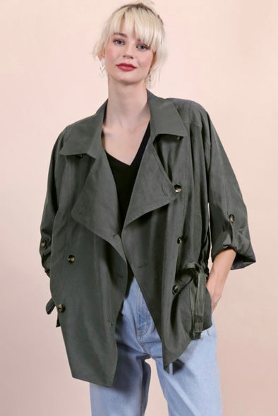 Olive Double Breasted Trench Jacket