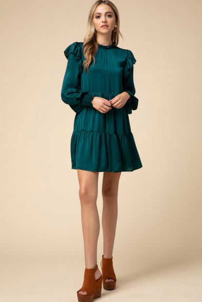 Lyla Tiered Mock Neck Dress - Hunter Green