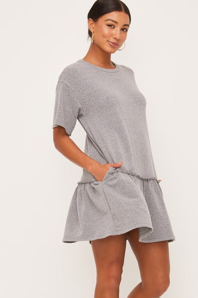 Betsy Ruffle Hem French Terry Dress