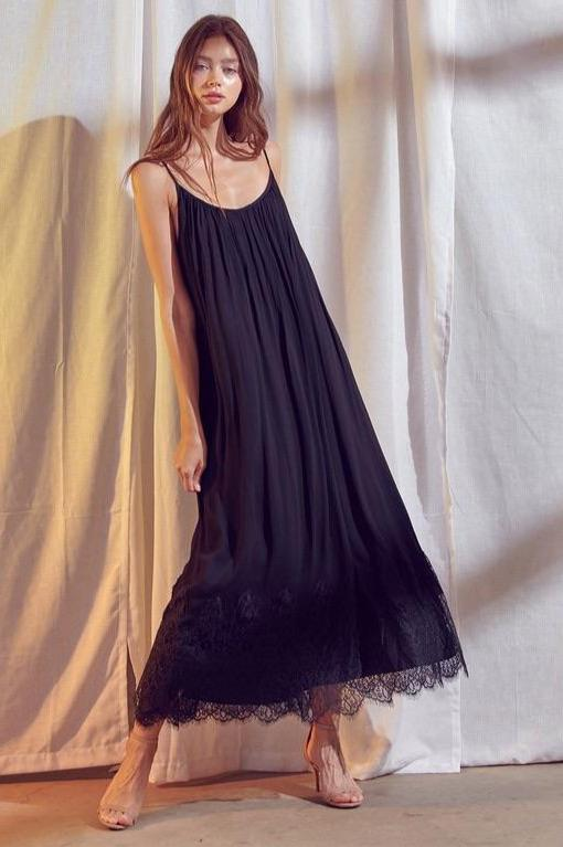 Dreamgirl Pleated Lace Trim Maxi Dress