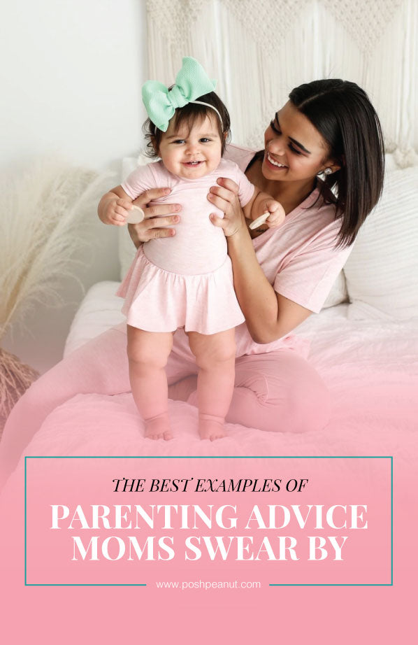 Parenting Advice Moms Swear By // Woman Holding Baby Girl in Posh Peanut