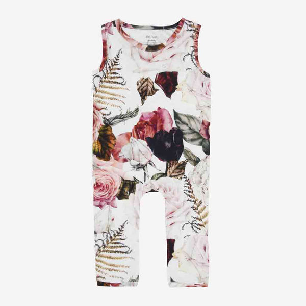 Black Rose Racerback Romper - FINAL SALE