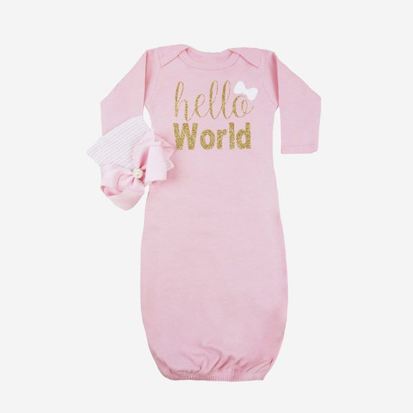 Hello World Baby Newborn Layette Gown - FINAL SALE