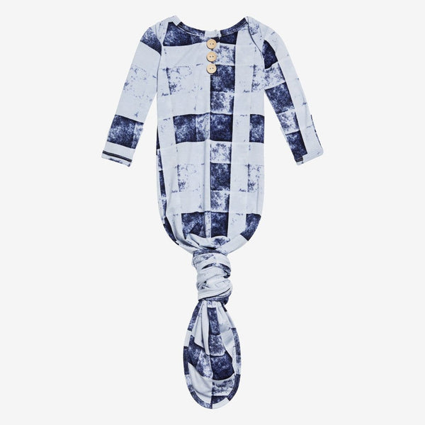 Denim Plaid Button Knotted Gown - FINAL SALE