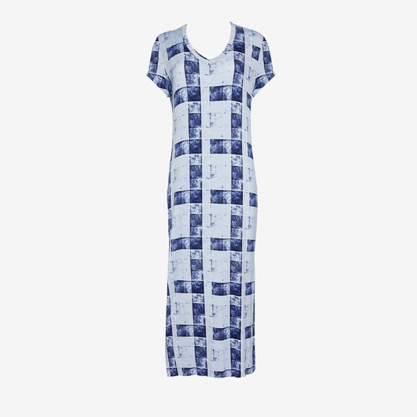 Denim Plaid Mommy Maxi Dress
