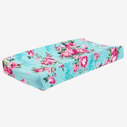 Aqua Floral Changing Pad Cover