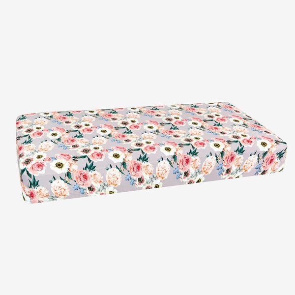 French Gray Floral Crib Sheet