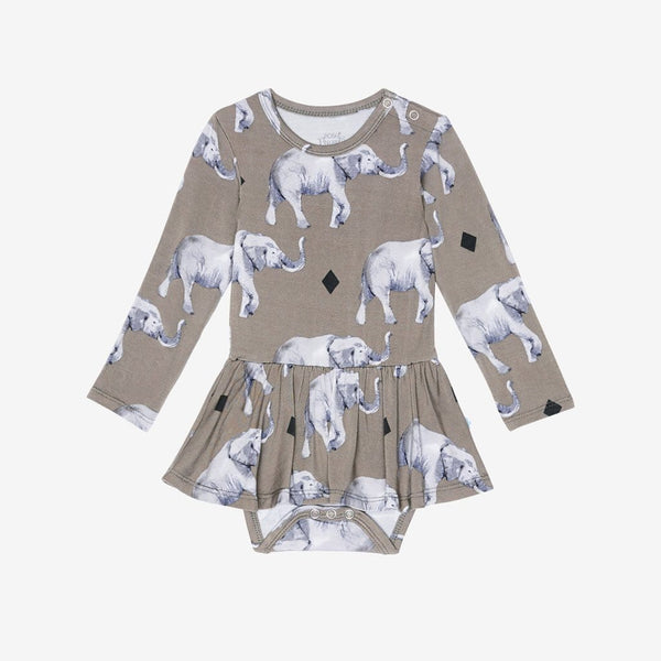 Rocco Elephant Long Sleeve Twirl Skirt Bodysuit