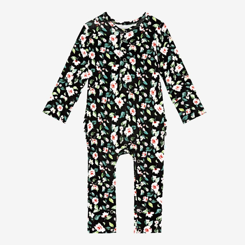 Lina Floral Ruffled Henley Romper - FINAL SALE