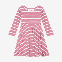 Blush Rose Stripe Long Sleeve Twirl Dress