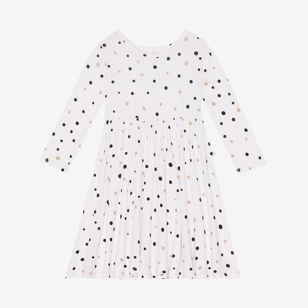 Jamie Polka Dot Long Sleeve Twirl Dress