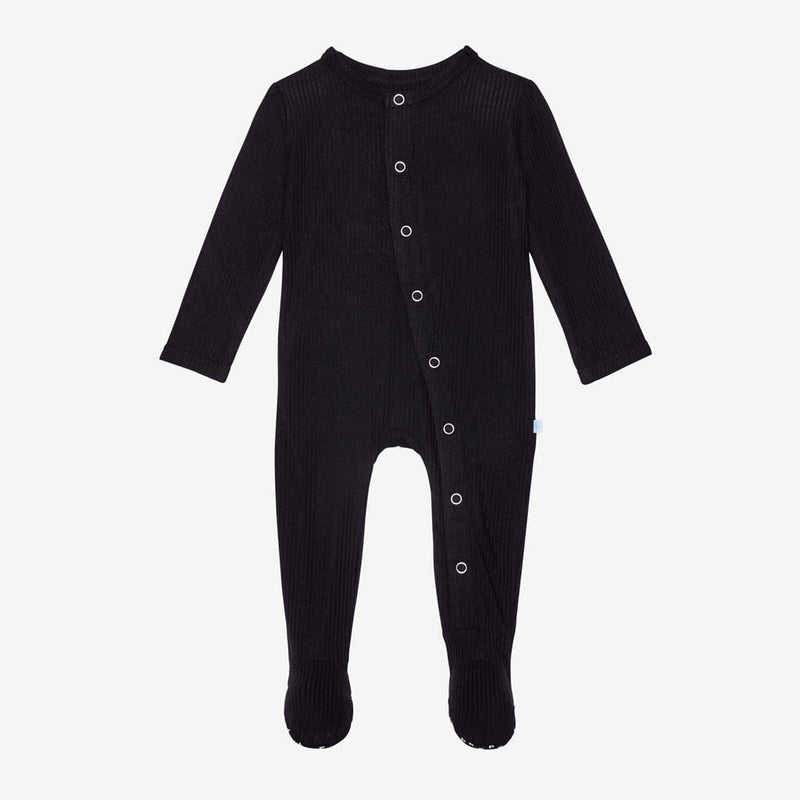 Black Ribbed Footie Snap One Piece