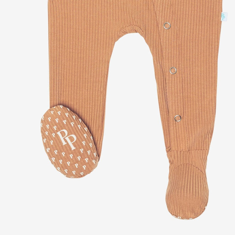 Dark Nude Ribbed Footie Snap One Piece