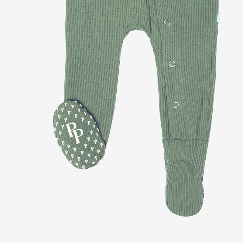 Dark Sage Ribbed Footie Snap One Piece