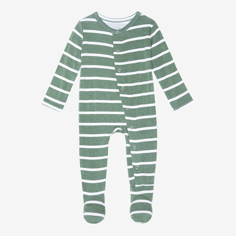 Dark Sage Stripe Footie Snap One Piece