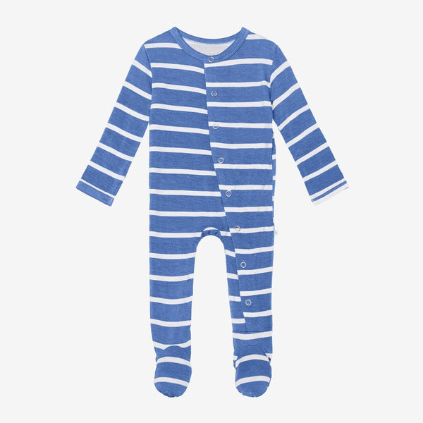 Denim Blue Stripe Footie Snap One Piece