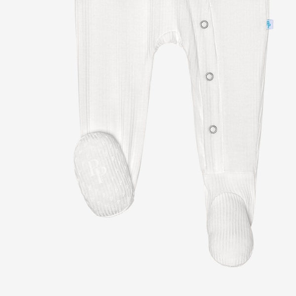 Off White Ribbed Footie Snap One Piece