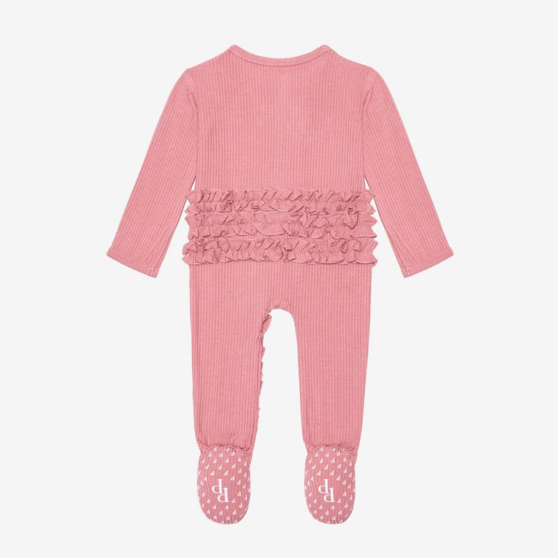 Blush Rose Ribbed Footie Ruffled Snap One Piece