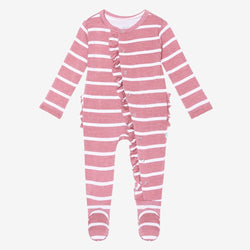 Blush Rose Stripe Footie Ruffled Snap One Piece