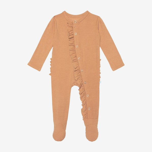 Dark Nude Ribbed Footie Ruffled Snap One Piece
