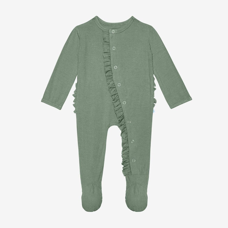 Dark Sage Ribbed Footie Ruffled Snap One Piece
