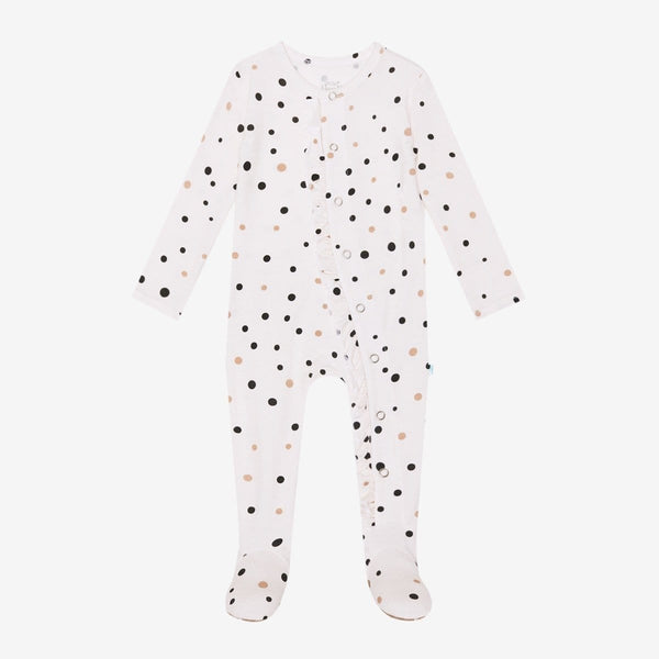 Jamie Polka Dot Footie Ruffled Snap One Piece