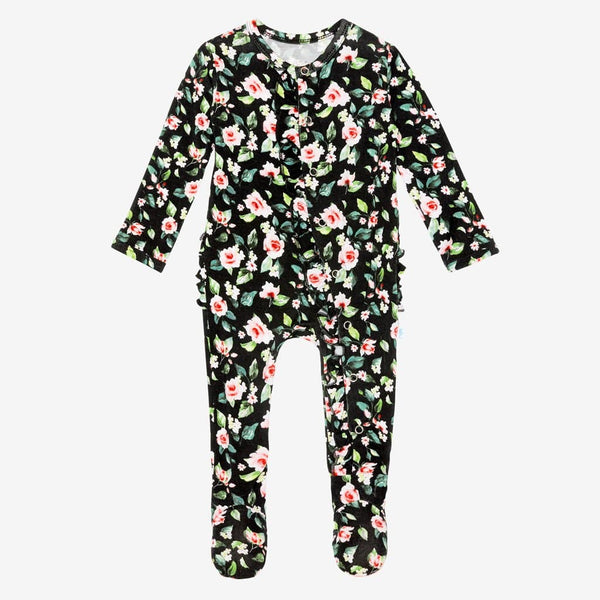 Lina Floral Footie Ruffled Snap One Piece