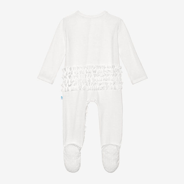 Off White Ribbed Footie Ruffled Snap One Piece