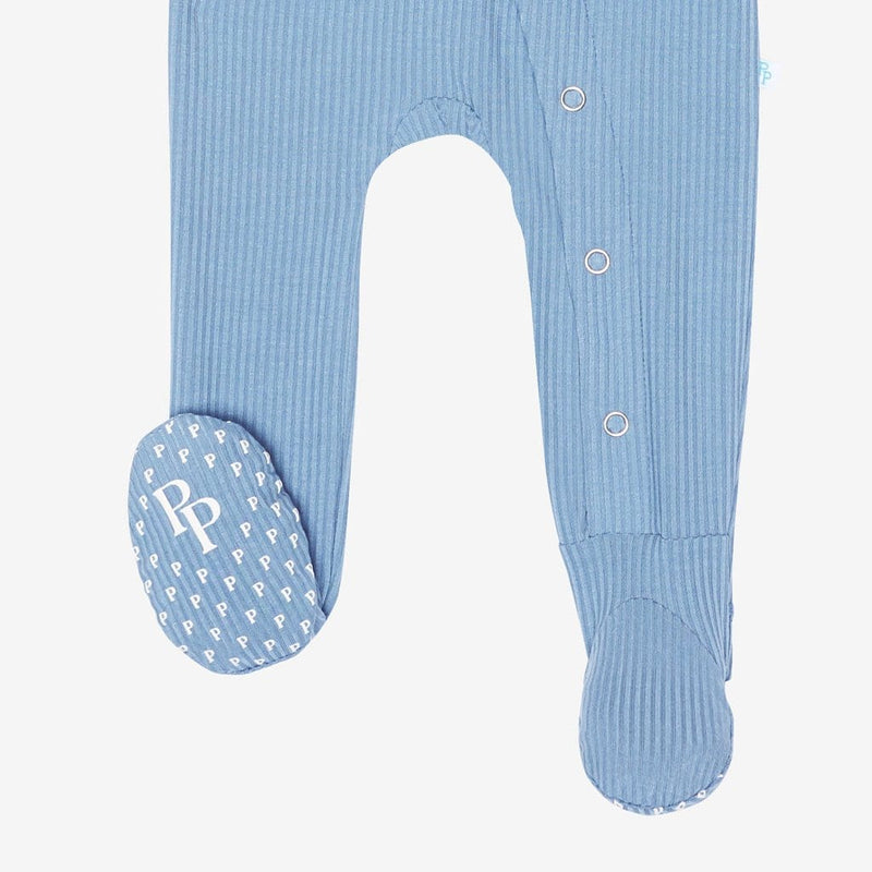 Storm Blue Ribbed Footie Snap One Piece