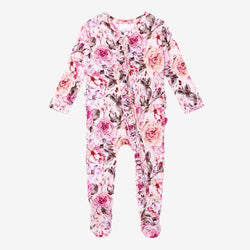 Elise Floral Footie Ruffled Zippered One Piece