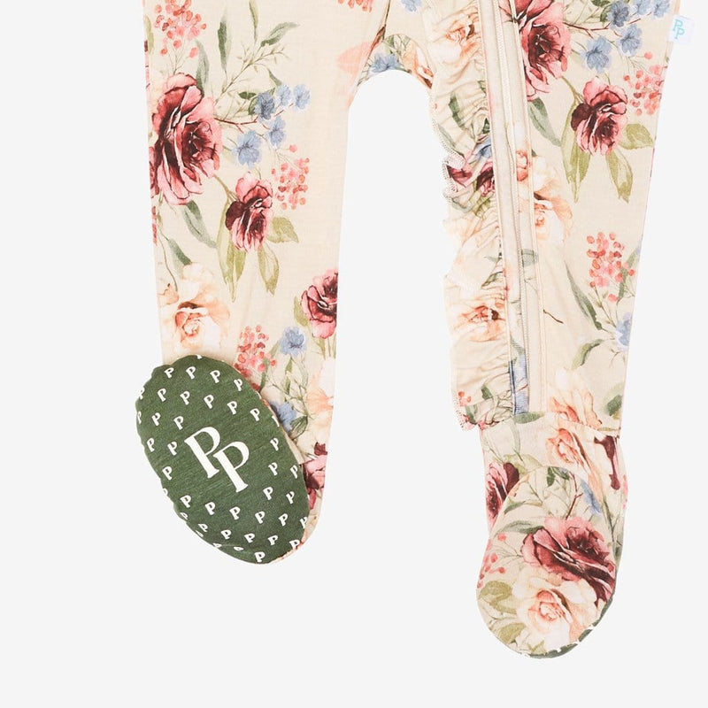 Gia Floral Footie Ruffled Zippered One Piece