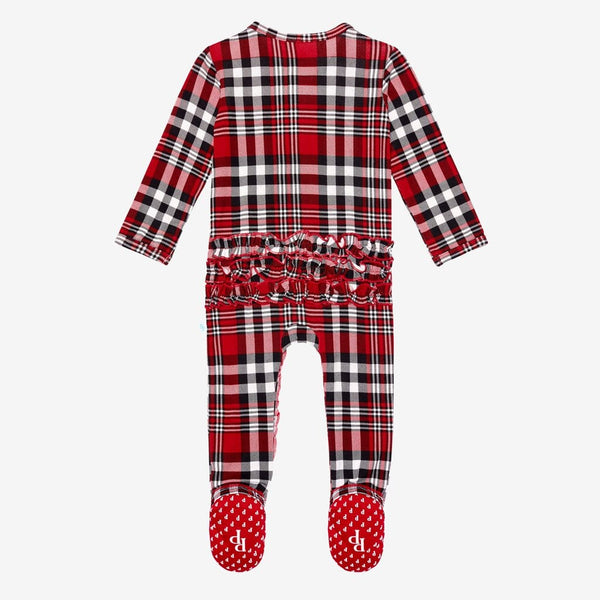 Noah Plaid Footie Ruffled Zippered One Piece