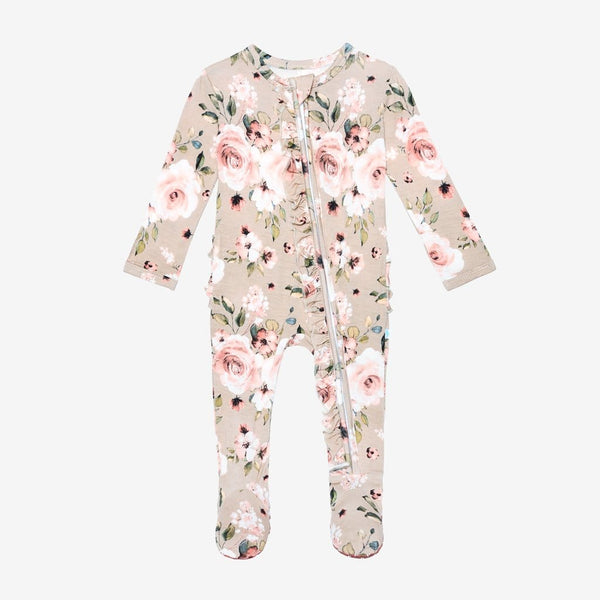 Sienna Floral Footie Ruffled Zippered One Piece