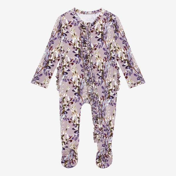 Trinity Floral Footie Ruffled Zippered One Piece FINAL SALE