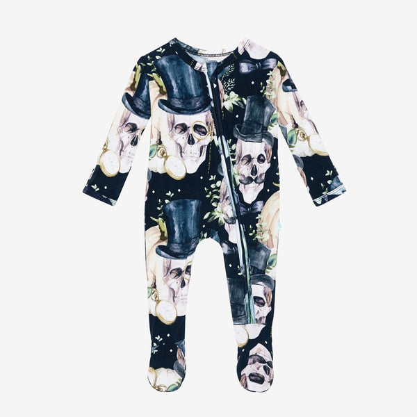 Theodore Black Footie Zippered One Piece