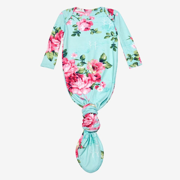 Aqua Floral Layette Knotted Gown