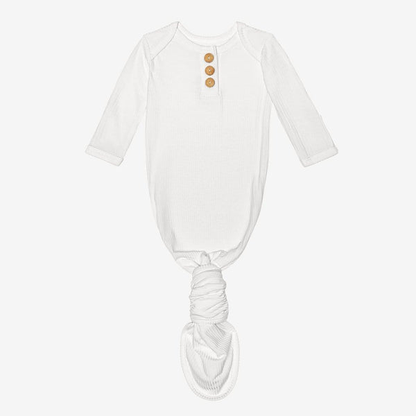 Off White Ribbed Button Knotted Gown
