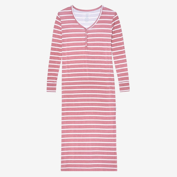 Blush Rose Stripe Long Sleeve Maxi Dress