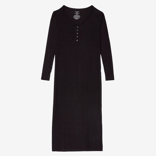 Black Ribbed Long Sleeve Maxi Dress