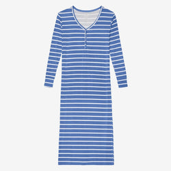 Denim Blue Stripe Long Sleeve Maxi Dress