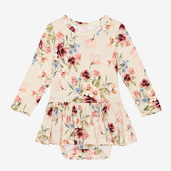 Gia Floral Long Sleeve Twirl Skirt Bodysuit