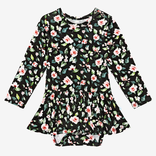 Lina Floral Long Sleeve Twirl Skirt Bodysuit