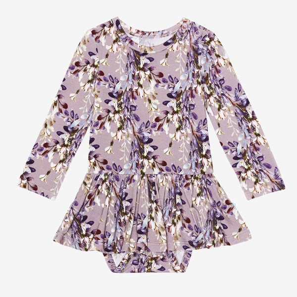 Trinity Floral Long Sleeve Twirl Skirt Bodysuit