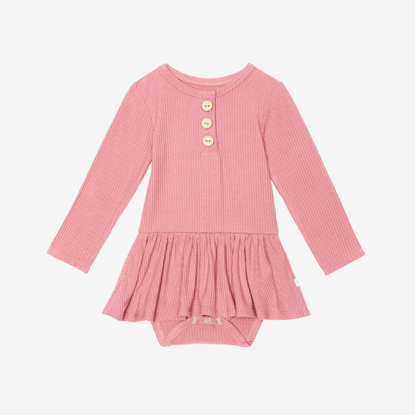 Blush Rose Ribbed Henley Twirl Skirt Bodysuit