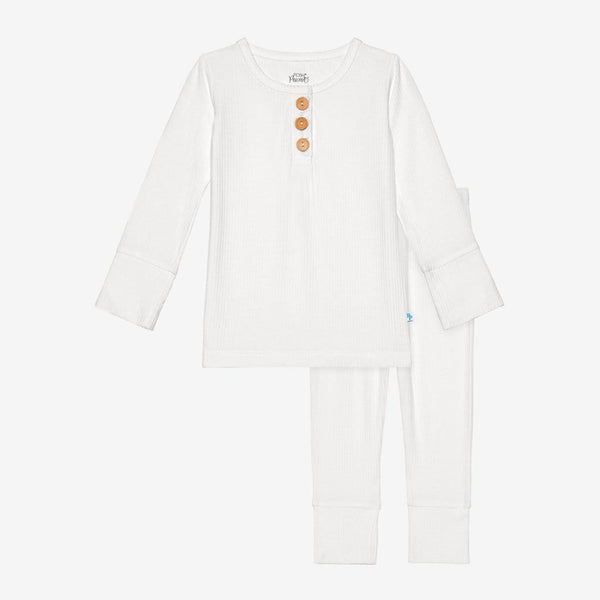 Off White Ribbed Henley Pajamas