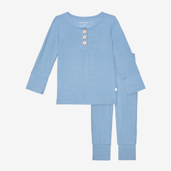 Storm Blue Ribbed Pajamas