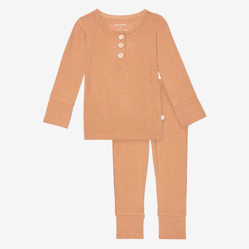 Dark Nude Ribbed Henley Pajamas