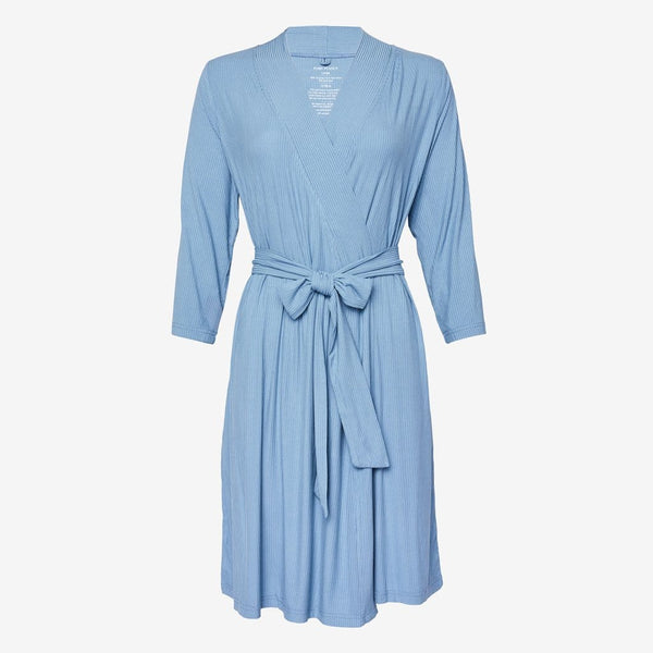 Storm Blue Ribbed Robe