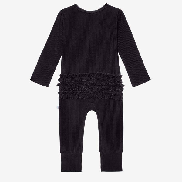 Black Ribbed Ruffled Henley Romper