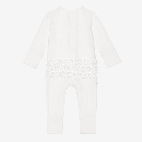 Off White Ribbed Ruffled Henley Romper